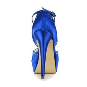 ハイヒール ヒール アンクルストラップ パンプス シューズ ハイヒール サテン ロイヤル ブルー 結婚 式 靴 エレガント 厚底 9520240783