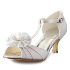 Bridesmaid Shoes White Wedding Shoes Stiletto Heels Sandals Mid Heels
