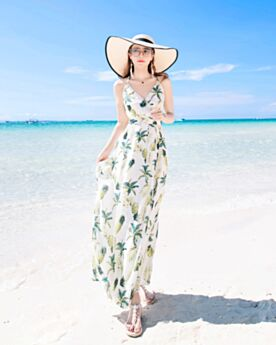 Printed Long Chiffon Summer Beachwear Open Back Dress Wrap Bohemian
