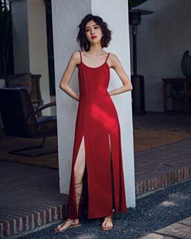 Rectos Algodon Vestidos Dividido Rojo Sexys Sin Manga Espalda Abierta Ropa De Playa