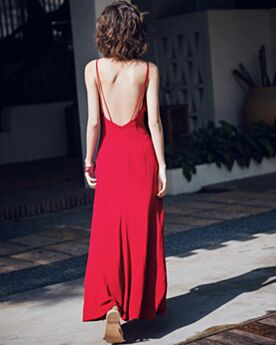 Tenue De Plage 2018 D été Casual Col Bateau Simple Fluide Robe Bretelle Rouge Sans Manches Fendue Sexy Robes