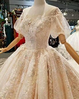 Brautkleider Rückenausschnitt Kurzarm Glitzer Herrlich Spitzen Applikationen Schönes