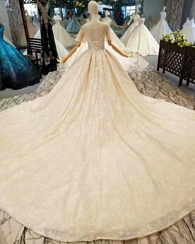 Bridals Wedding Dress Glitter Ball Gown Lace Luxury Ivory Elegant Church Sparkly Bell Sleeve
