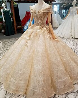 Estilo Princesa Espalda Abierta Largos Vestidos De Novia Dorados Hombros Caidos De Encaje Lujo Bordado Brillantes Escotados