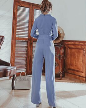 Long Dark Blue Going Out Straight Chiffon Long Sleeve Jumpsuit