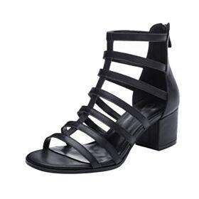 Enkellaarsjes Zwart 5 cm Heels Sandalen Modern Leren Gladiator Damesschoenen