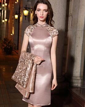 Kleider Hochzeitsgäste Kurze Abendkleider Etui Organza Brautmutterkleid Partykleider Elegante Hochgeschlossene