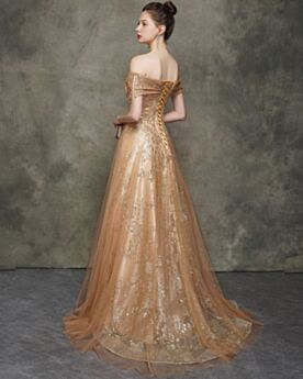 Prom Dress Off The Shoulder Sparkly Gold Backless Evening Dresses Princess Short Sleeve