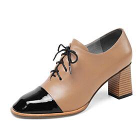 Mit Absatz Oxford Schuhe Damen Kamel Blockabsatz Business Schuhe 2019 Lack