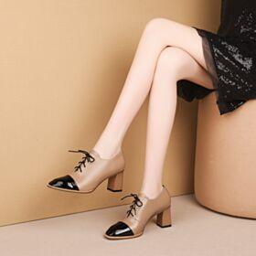 Stringate Ufficio Tacco Legno Classici Tacco Largo Medio 6 cm In Vernice Scarpe Oxford Donna Color Cammello