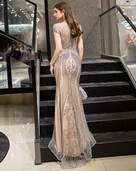 Paillettes Con Perline Gioiello Vestiti Di Gala Lungo Abiti Da Sera Scollo Profondo Svasato Maniche Corte Argento Luccicante Abiti Cerimonia