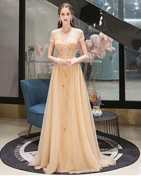Brautmutterkleid Strasssteine Elegante Festliche Kleider Abendkleider Rundhalsausschnitt Glitzernden