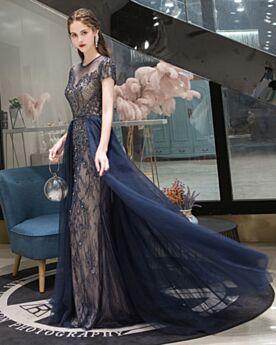 Schönes Marineblau Brautmutterkleider Glitzernden Lange Abendkleid