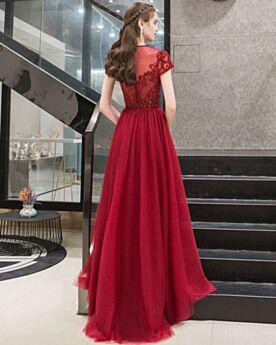 Vestidos Para Fiesta Escote Redondo Linea A Color Burdeos Brillantes Elegantes Vestidos De Noche Con Manga Corta Largos Corte Imperio Tul