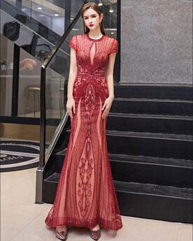 Luxus Verlobungskleid Kristall Galakleider Bleistift Pailletten Rot Abendkleider