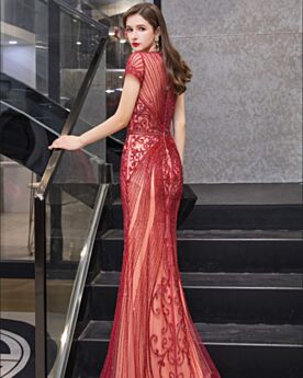 Sheath Beading Sparkly Formal Evening Dress Rhinestones Low Cut Gorgeous Red Sequin