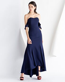 Fit And Flare Dark Blue Open Back Cocktail Dress Sleeveless Semi Formal Dress Bandeau