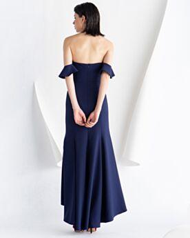 Vestidos Semi Formales De saten Espalda Descubierta Volantes Largos Azul Noche Escote Corazon Vestidos De Coctel