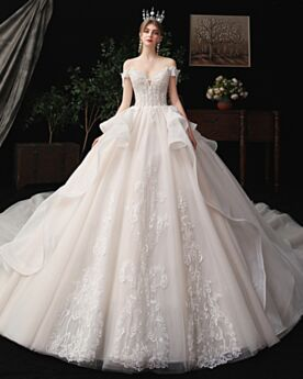 White Open Back Elegant Plunge Bridals Wedding Dress Off The Shoulder Ball Gown Church