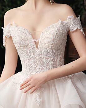 Brautkleider Prinzessin Weiß Kurzarm Off Shoulder Perlen Rückenausschnitt Tiefer Ausschnitt Elegante