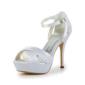 Satin De Tiras Plataforma Peep Toe Blancos 10 cm Tacon Alto Sandalias Elegantes Stilettos