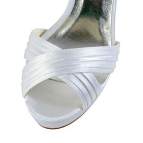 Blanche Sandales Talon Aiguille 10 cm Talon Haut Chaussure Mariage Avec Bride Cheville Bout Ouvert Plateforme