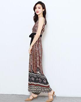 Portefeuille Pantalon Large Bordeaux Boheme Robe De Plage Combinaison Femme Longue