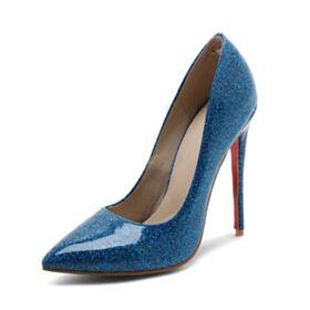 12 cm Glitzernden Royalblau Spitz Zeh Lack High Heels Mit Absatz Glitzer Stilettos Pumps
