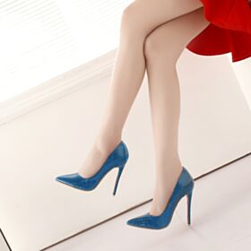 Stilettos Glitter 12 cm Evening Shoes Sparkly 2018 Blue High Heel Pointed Toe Pumps Patent