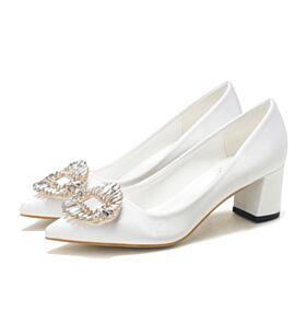 Elegante Mit Kristall 5 cm Kitten Heel Brautschuhe Brautjungfer Schuhe Spitz Zeh Bequeme Pumps Weiß Chunky Heel