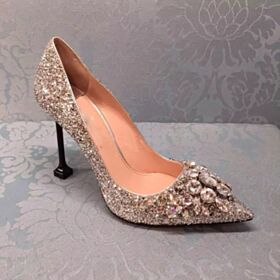 Sparkly Spring 3 inch High Heel Silver Quinceanera Shoes Prom Shoes Glitter Pointed Toe Pumps Shoes