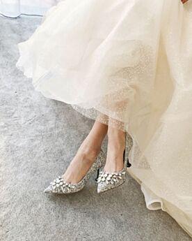 Scarpe Cerimonia Scarpe Sposa Argento Con Tacco Alto Tacco Largo Glitter Decolte