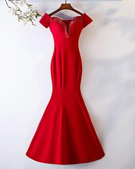 Schlichte Rot Perlen Abiballkleid Abendkleider Elegante