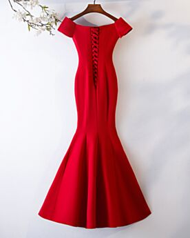 Long Mermaid Red Satin Short Sleeve Formal Dresses Party Gowns Charming Simple Beaded