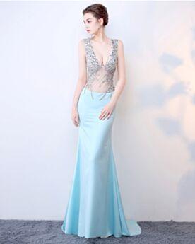 Ajustados Escotados Con Cola Largos De Lentejuelas Vestidos Prom Vestidos Fiesta De Noche Tul Transparentes Vestidos De Gala Azul Claro Gasa Sexys