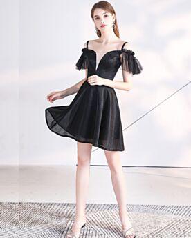 Chic Vestidos Semi Formales LBD Vestidos Coctel Para Fiesta Escotados Negros Cortos