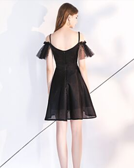 Ruffle Short Organza Cocktail Dresses Semi Formal Dress Backless Spaghetti Strap Low Cut Beautiful Little Black Dresses Black