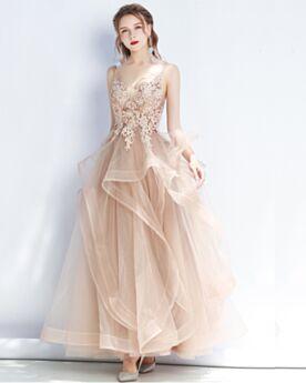 2019 Appliques Sweet 16 Dresses Open Back Juniors Cute Spaghetti Strap Long Sleeveless Prom Dresses Ruffle