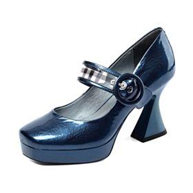 Bleu Mary Jane Talons Carrés Vernis Plateforme Escarpins