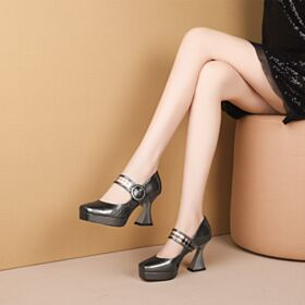 Comfort Gray With Ankle Strap Platform Pumps Leather High Heel