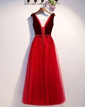 Largos Vestidos Para Homecoming Chic Tul De Terciopelo Rojos Escote V Pronunciado