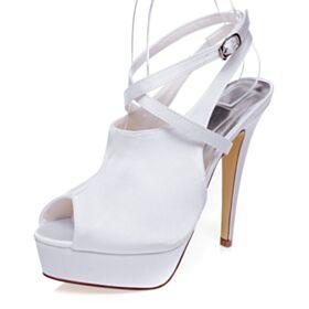 Enkelband Stiletto Peep Toe Witte Strappy Plateau 13 cm High Heel Satijnen Bruidsschoenen Sandalen Mooie