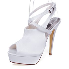 Platform Sandals Stiletto With Ankle Strap Bridal Shoes Satin Peep Toe 5 inch High Heel White Strappy