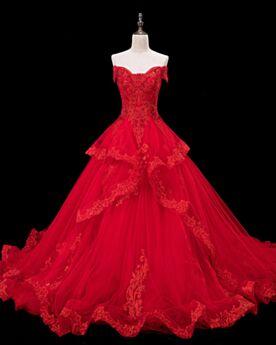 Con Encaje Espalda Descubierta Vestidos De Novia Con Encaje Con Cola Rojos Elegantes Con Manga Corta