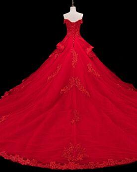 Dos Nu Dentelle Église Robes De Mariée Princesse Rouge Élégant Avec La Queue
