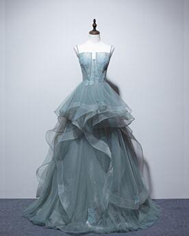 ブルー オープンバック イブニングドレス パーティー ドレス ロング トレーン オフショルダー 可愛い ノースリーブ Aライン 9721020816