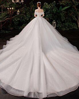 A Line Open Back Off The Shoulder Plunge Wedding Dress Luxury Glitter Ivory With Train Elegant