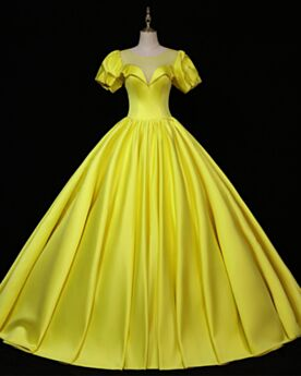 Beading Simple Satin Backless Formal Dresses A Line Prom Dress Charming Short Sleeve Vintage Yellow