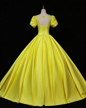 Met Ruche Vintage Avondjurken Lange Elegante Galajurken Gele Kralen Open Rug Simpele