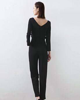 黒 シンプル な シース バックレス ロング ジャンプ スーツ 98320190117